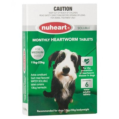 Nuheart - Generic Heartgard Plus Nuheart Medium Dogs 26-50lbs (Green)