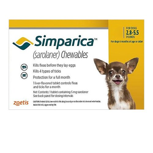 Simparica Chewable Tablet for Dogs 2.8-5.5 lbs (Yellow)