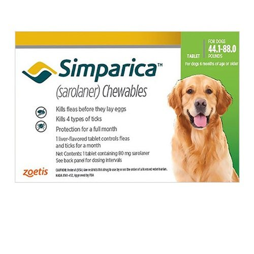 Simparica Chewable Tablet for Dogs 44.1-88 lbs (Green)