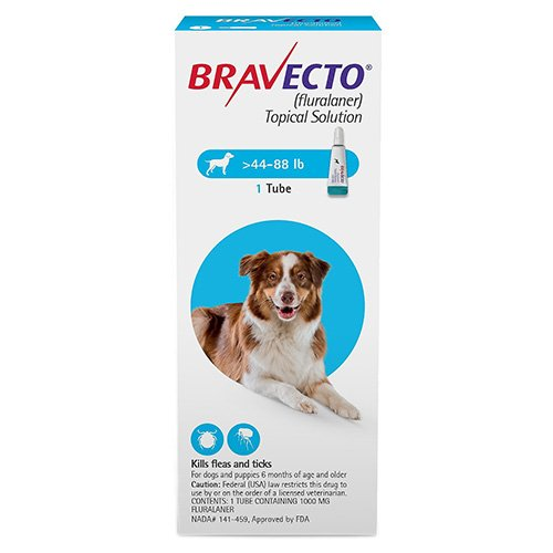 Bravecto Topical for Large Dogs (44 - 88 lbs) Blue