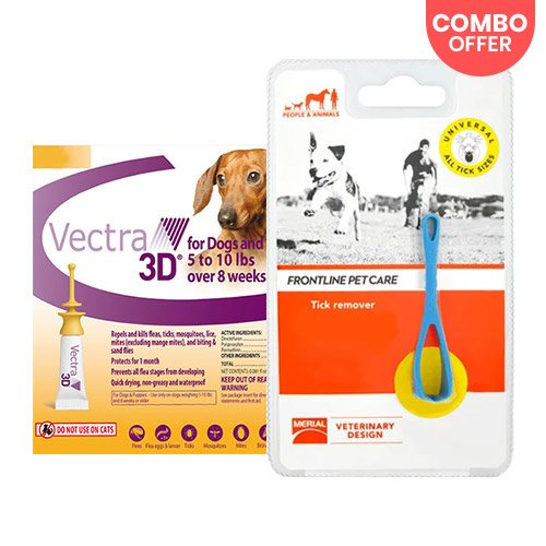 Vectra 3D + Frontline Pet Care Tick Remover for Dog Supplies