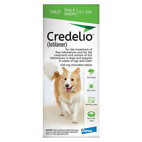 Credelio for Dogs 25 to 50 lbs (450mg) Green