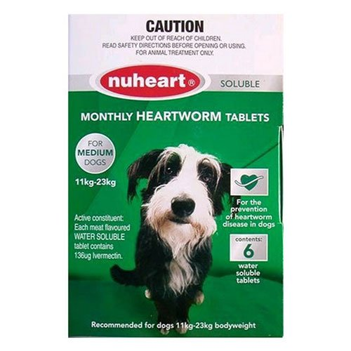 Heartgard Plus Generic Nuheart Medium Dogs 26-50lbs (Green)