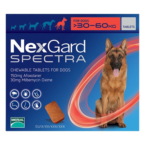 Nexgard Spectra Chewable Tablets for Xlarge Dogs 66-132 lbs (Red)