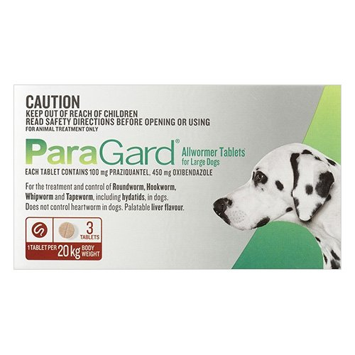 Paragard Allwormer For Large Dogs 44 lbs (20 Kg) Red