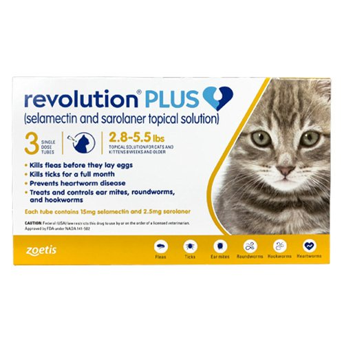 Revolution Plus for Kittens and Small Cats 2.8-5.5lbs (1.25-2.5Kg) Yellow