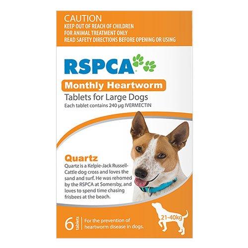 RSPCA Monthly Heartworm Tablets  for Large Dogs 45-88lb (Orange)
