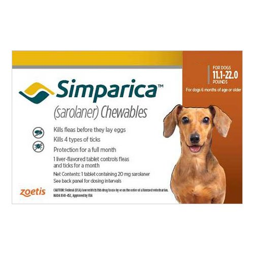 Simparica Chewable Tablet for Dogs 11.1-22 lbs (Brown)