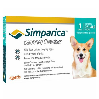 Simparica Chewable Tablet for Dogs 22.1-44 lbs (Blue)