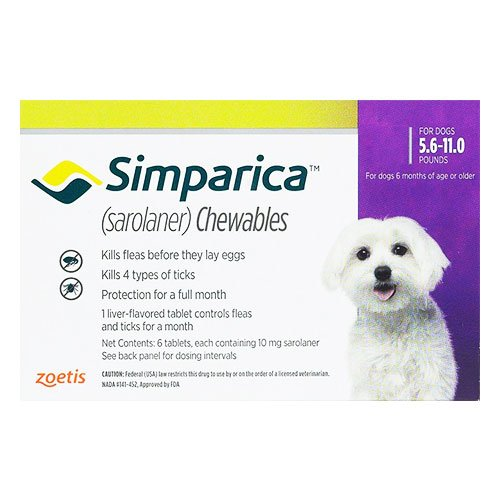 Simparica Chewable Tablet for Dogs 5.6-11 lbs (Purple)