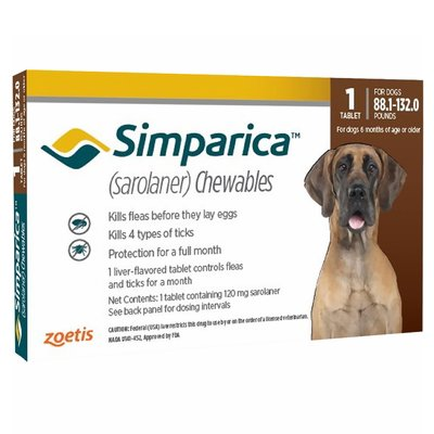 Simparica Chewable Tablet for Dogs 88.1 - 132 lbs (Red)