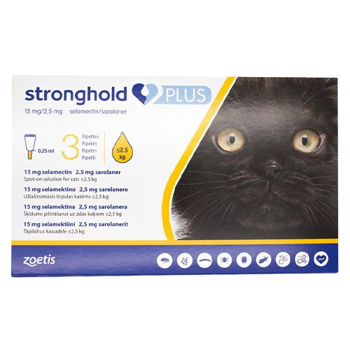Stronghold Plus for Kittens and Small Cats upto 5.5lbs (2.5Kg) Yellow
